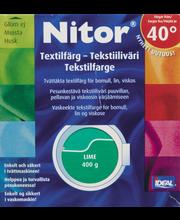 Nitor 3017 Lime tekstiiliväri, 75ml nestemäinen tekstiiliväri + 100g kiinnitysaine