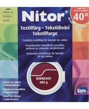 Nitor 3034 Bordeaux tekstiiliväri, 75ml nestemäinen tekstiiliväri + 100g kiinnitysaine