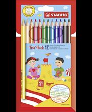 Stabilo Trio puuvärikynä paksu 12-värin sarja