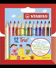 Stabilo Trio paksu puuvärikynä lyhyt 12-värin sarja