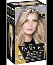 L'Oréal Paris Préférence Infinia 8.1 Copenhagen Light Ash Blonde Luonnonvaalea tuhka kestoväri