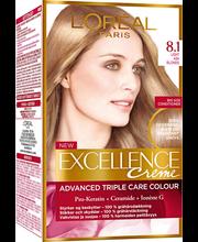 L'Oréal Paris Excellence Creme 8.1 Light Ash Blonde Keskivaalea Tuhka Kestoväri