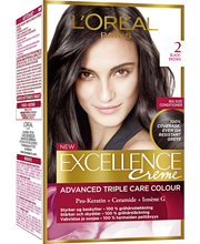 L'Oréal Paris Excellence Creme 2 Black Brown Mustanruskea Kestoväri