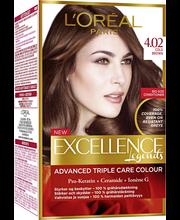 L'Oréal Paris Excellence 4.02 Cold Brown viileä tummanruskea kestoväri