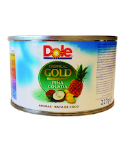 Dole Tropical Gold 227/139g Pina Colada, Ananaspaloja ja kookosgeelipaloja ananasmehussa