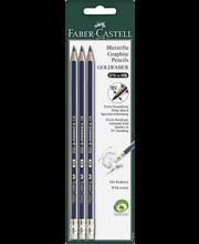 Faber-Castell Goldfaber HB luijykynä kumilla, 3 kpl