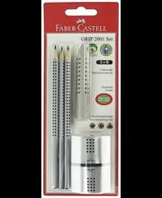 Faber-Castell Jumbo Grip 2001 pakkaus: 3 lyijykynää, Jumbokumi, teroitin