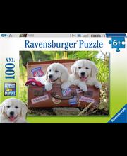 Ravensburger Travelling Pups palapeli, 100 palaa