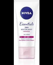 NIVEA 50ml Essentials 24H Moisture Boost + Nourish Day Cream -päivävoide kuivalle iholle