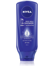 NIVEA 250ml In-Shower Body Milk Nourishing -vartaloemulsio suihkuun kuivalle iholle