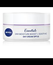 NIVEA 50ml Essentials 24H Moisture Boost + Soothe Day Cream -päivävoide herkälle iholle