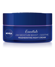 NIVEA 50ml Essentials 24H Moisture Boost + Soothe Night Cream -yövoide herkälle iholle