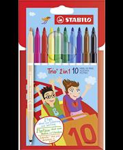 Stabilo Trio 2 in one huopakynäsarja kaksipäinen 10 väriä