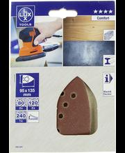 Lux hiomapaperi 95x135mm P80 P120 P240 5kpl Comfort