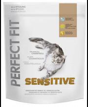 Perfect Fit 750g Sensitive kanaa täysrehu aikuisille kissoille, räätälöityä ravintoa herkille kissoille.