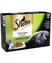 Sheba Selection 8x85g Valikoidut reseptit kastikkeessa, lohi, valkokala, kana, härkä, täysrehua aikuisille kissoille