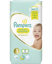 Pampers 50kpl Premium Protection S3 (4-7kg) vaippa