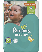 Pampers 43kpl BabyDry S5+ 13-25kg vaippa