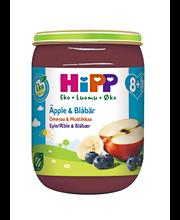 HiPP 190g Luomu Omenaa & Mustikkaa soseena 8 kk