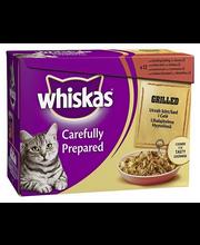 Whiskas 12x85g Grillattua lihaa hyytelössä, häränlihaa, kanaa, lammasta, ankkaa täysrehua kissoille