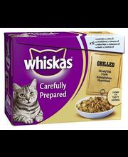 Whiskas 12x85g Grillattua kalaa hyytelössä, lohi, taimen, katkarapu, sardiini täysrehua kissoille