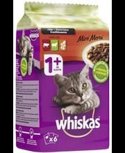 Whiskas Mini Menu 6x50g Mix, häränlihaa, lammasta, siipikarjaa, täysrehua aikuisille kissoille