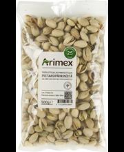 Arimex 500g suolattuja ja paahdettuja pistaasipähkinöitä