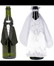 Shampanjapullon koristeet, morsian ja sulhanen