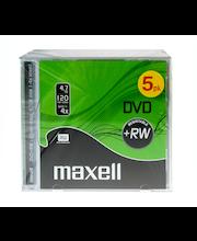 Maxell DVD+RW 4.7GB 120 min 4x nopeuksinen uud kirjoit. cd-kotelolla data/video