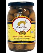 Amalthia 350/220g vihreä paprikatäytteinen oliivi