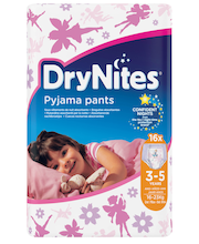 Drynites yövaippa 3-5v tyttö 16kpl