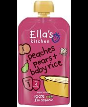 Ella's Kitchen 120g peaches pears + baby rice, Persikka päärynä + riisi sose, alkaen 4 kk, luomu