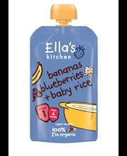 Ella's Kitchen 120g bananas blueberries + baby rice, Banaani mustikka + riisi sose, alkaen 4 kk, luomu