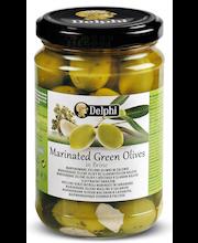 Delphi 290/180 g vihreä valkos., chili, laakerinlehti, yrtti marinoitu kreikkalainen oliivi