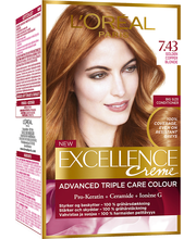 L'Oréal Paris Excellence Creme 7.43 Golden Copper Blonde Tummanvaalea Kuparikulta Kestoväri