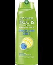 Garnier Fructis 250ml Strength & Shine 2 in 1 shampoo + hoitoaine normaaleille hiuksille