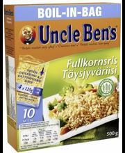 Uncle Ben's 4x125g Täysjyväriisi keitinpusseissa