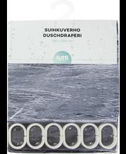House suihkuverho Stormy Sea 180x200cm mustavalkoinen