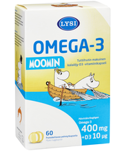 Lysi 54g 60 pehmytkapselia Omega-3 Moomin kalaöljy-D3-kapseli ravintolisä