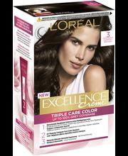 L'Oréal Paris Excellence Creme 3 Dark Brown Syvä Tummanruskea Kestoväri
