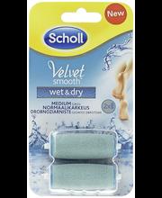 Scholl  2kpl Velvet Smooth Wet&Dry vaihtopäärullien täyttöpakkaus