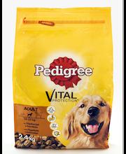 Pedigree 2,4kg Adult Siipikarjaa ja Kasviksia 10-25kg koirille