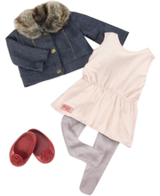 Our Generation mekko, leggingsit, takki ja kengät
