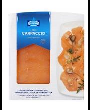 Chipsters 125g Lohicarpaccio josta kalaa 100g parmesaanijuusto 10g vinaigrette 16ml