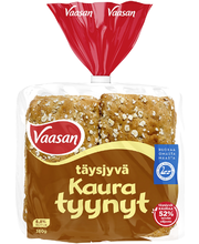 Vaasan Täysjyväkauratyynyt 380g 6 kpl täysjyväkauraleipä