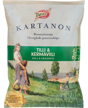 Taffel Kartanon 180g tilli&kermaviili maustettu perunalastu