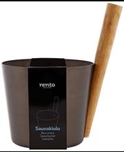 Rento saunakiulu tervanruskea alumiinia ja bambua, 5 l