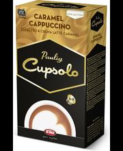 Paulig Cupsolo Caramel Cappuccino UTZ 8 annosta paahdettua, jauhettua kahvia ja karamellin makuista vähälaktoosista maitojauhevalmistetta