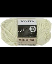Novita Wool Cotton 50g lanka luonnonvalkoinen 010