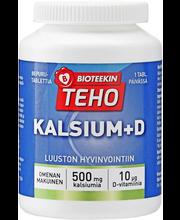 BIOTEEKIN Teho Kalsium + D 80 purutablettia. Kalsiumia ja d-vitamiinia sisältävä omenan makuinen ravintolisä.
